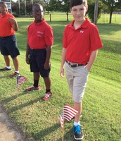 Placing flags out in remembrance of 9/11