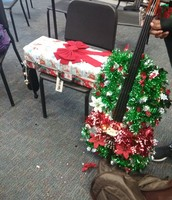 A wrapped case and a cello completely wrapped like a tree?!