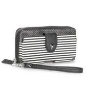 Madison Tech Wallet-black and cream Breton Stripe