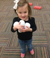 Cutie pie Caroline and our class had fake snowballs at indoor recess :-)