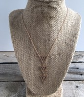 Pave Spear Necklace-Rose Gold