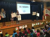 Ms. Hallum's 5th grade Panthers lead us in an SEL lesson at assembly!
