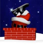 Santa falling down the chimney