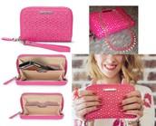 CHELSEA TECH WALLET Glow Pink Perf Reg $69 -50% sale $35
