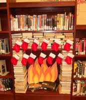The stockings were hung by the book fireplace with care