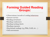 Forming Guided Reading Groups