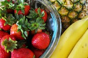 pine apple, mango, banana, strawberrys