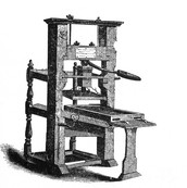 Depiction of a printing press