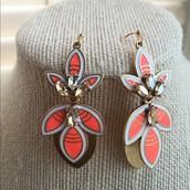 Hibiscus Earrings - Hot Orange (3 in 1)