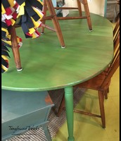 Green Drop Leaf Round Table with Two Leaves - $315