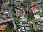 Aerial view of residential homes