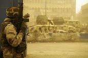 US soldier fights during Sandstorm