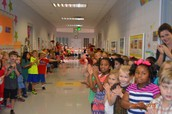 The entire school lined the halls to wish us luck at Special Olympics.