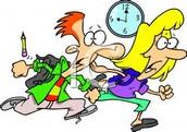 No seas tarde a la clase.
