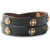 Clover Double Wrap Leather Bracelet (black) $25