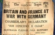 newspaper about Britian and Germany are at war