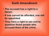 Sixth Amendment: The rights of the accused in criminal cases