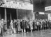 Line of people for bread Lines