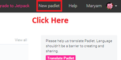 "2- Click on the ""New padlet"""
