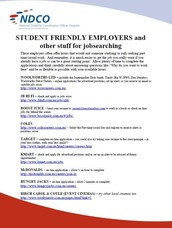 Student Friendly Employers and other NDIS Information