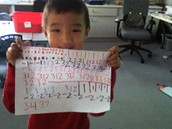Bryan has created patterns using colours, symbols and numbers