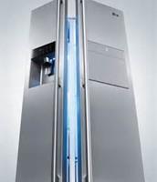 smart LG  silver refridgerator with voice control.