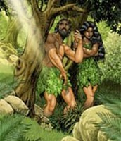 Adam and Eve hidding from God