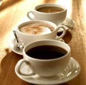 Cappuccinos, American espressos, latte, mocha coffee