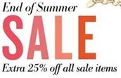 Extra 25% off sale prices ends tomorrow!