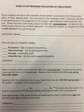 Work Study Evaluations