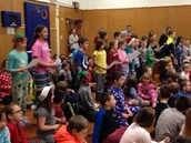 Mrs. Pisani's class singing at the Sing-A-Long