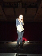Amanda modeling her own messenger bag.  It was versatile, durable and a trendy piece that was showcased within the fashion show.