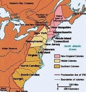 A map of the 13 colonies
