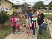Ms. Finnegan With Some Of Our Eco Action Crew, Beautifying The Campus!