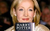 J.K. Rowling with her book