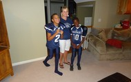 Me and my brother dressed for football.