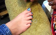 """Abby gets """"fitted"""" for her toe ring!"""