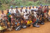 Children recieve new kit and gear.