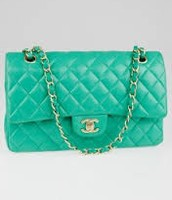 Chanel green jumbo flap bag