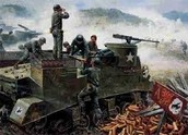 Old fashion tanks in the Korean War