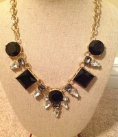 Black and crystal necklace