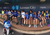 Ms. Smith's class in the dugout at The K!
