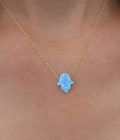 Gold Hamsa neckless light blue opal