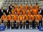 Het Nederlands korfbalteam tijdens het EK 2010