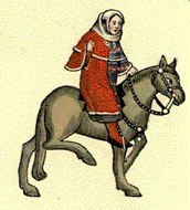 Wife of bath riding knights horse.