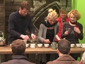 Volunteers participating in cupping