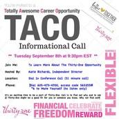 TACO Call this Tues 9:30 pm