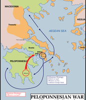 This a map of where spartan travel for the peloponnesian war.