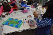 Layaan working on her Aboriginal Art Project