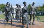 Statues honoring the Little Rock Nine
